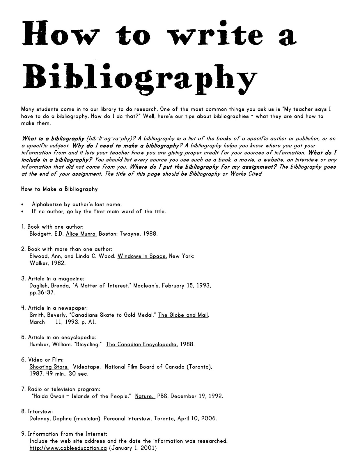 How to Write a Bibliography?